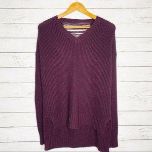 Pink Rose V Neck Sweater Slit Back Medium